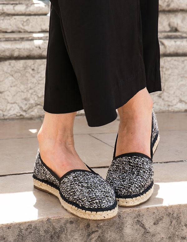 Espadrilles Tweed Noir CABOURG