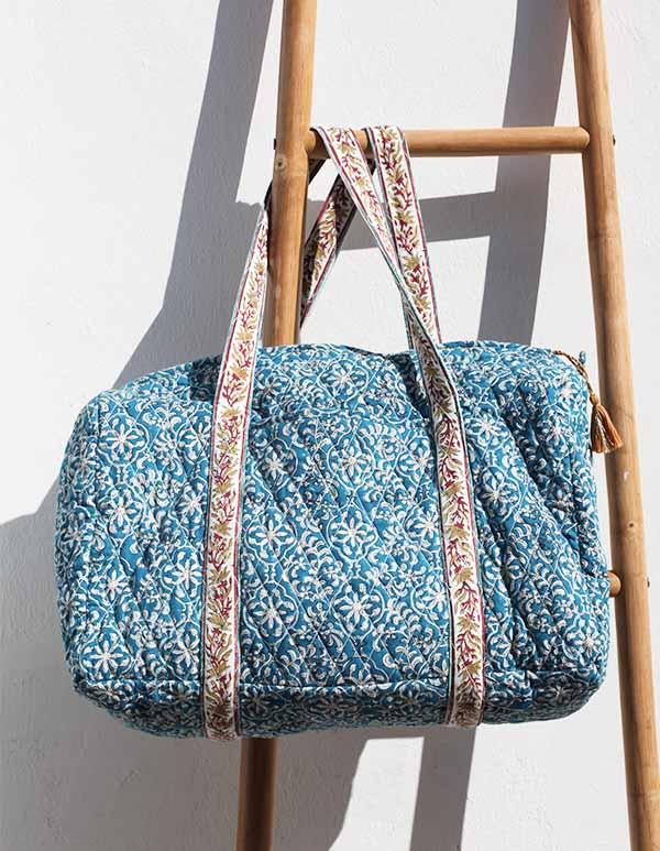 Espadrilles coton imprimé bleu écru SAC WEEK-END JAIPUR