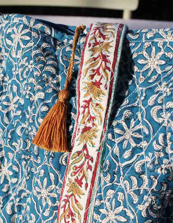 Espadrilles coton imprimé bleu écru SAC WEEK-END JAIPUR 2