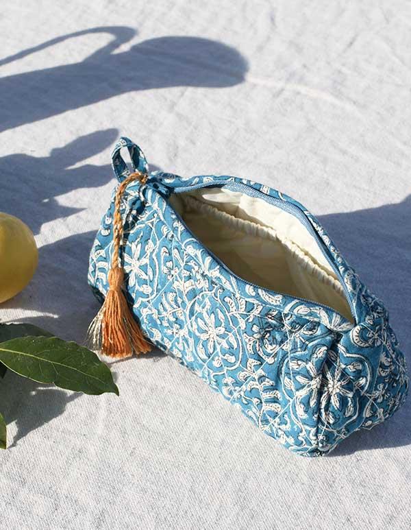 Espadrilles coton imprimé bleu écru PETITE TROUSSE JAIPUR 1