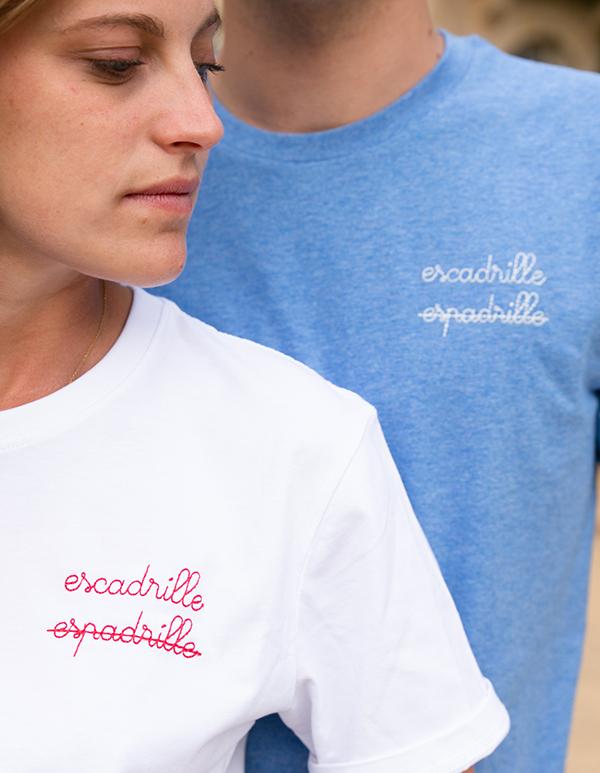 Espadrilles coton biologique Blanc Tee-shirt femme escadrille x les barrés 2