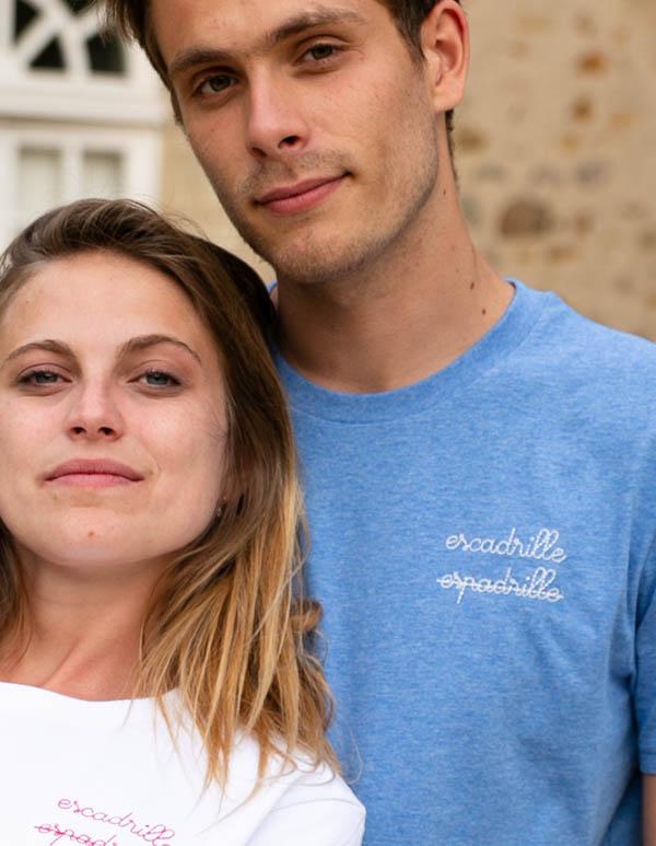 Espadrilles coton biologique Bleu chiné Tee-shirt homme Escadrille x Les Barrés 2